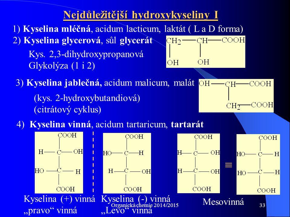 Nejdůležitější hydroxykyseliny I