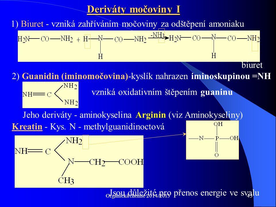 Deriváty močoviny I 1) Biuret - vzniká zahříváním močoviny za odštěpení amoniaku. biuret.