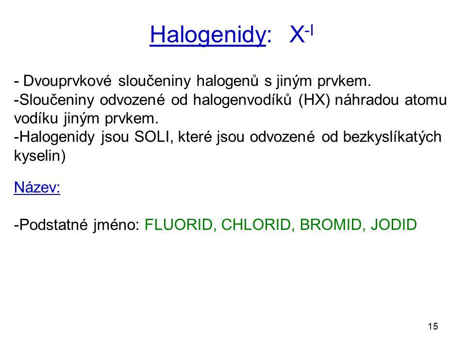 Halogenidy: X-I - Dvouprvkové sloučeniny halogenů s jiným prvkem.