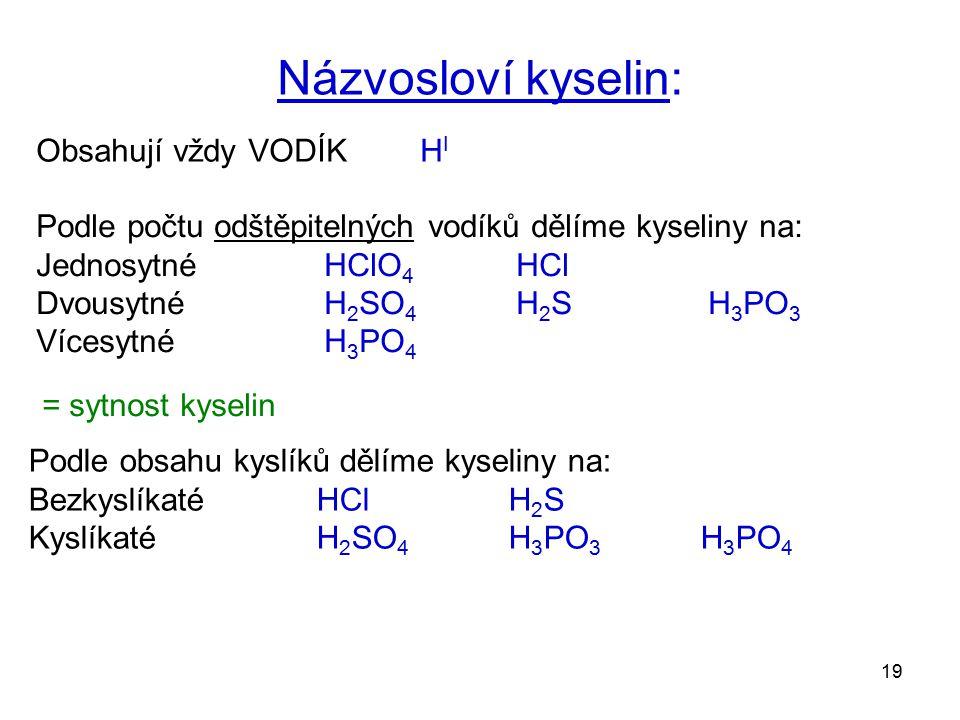 Názvosloví kyselin: Obsahují vždy VODÍK HI