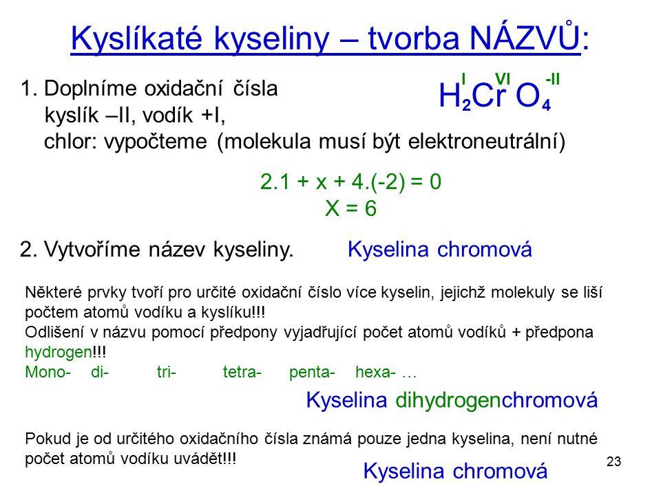 Kyslíkaté kyseliny – tvorba NÁZVŮ: