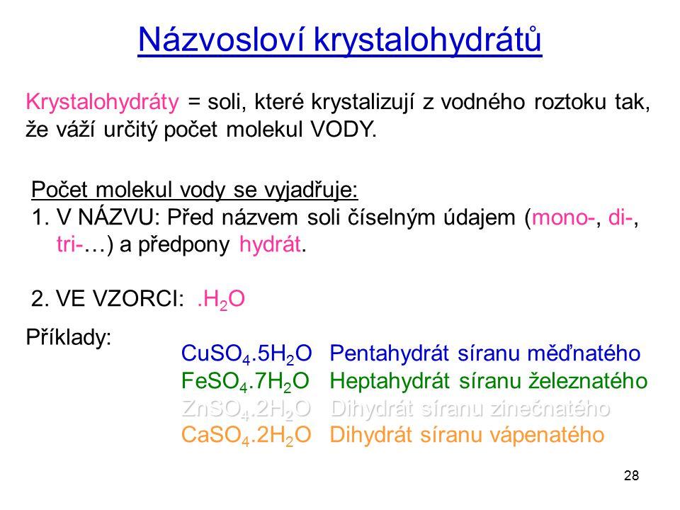 Názvosloví krystalohydrátů