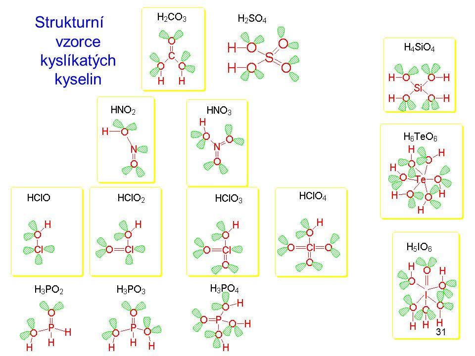 Strukturní vzorce kyslíkatých kyselin