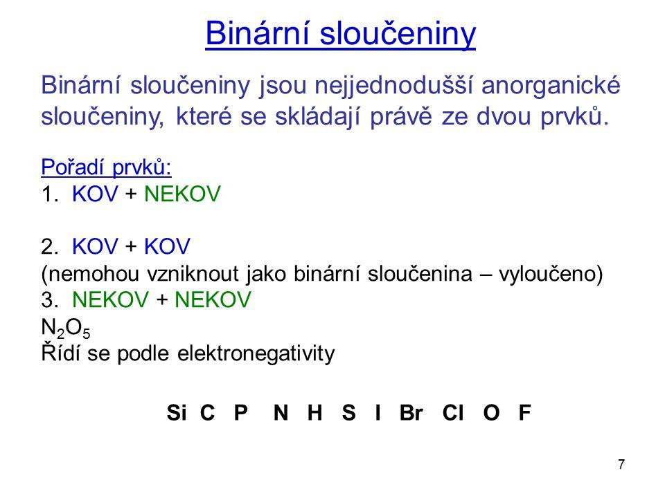 Binární sloučeniny Binární sloučeniny jsou nejjednodušší anorganické sloučeniny, které se skládají právě ze dvou prvků.