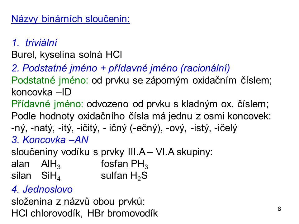 Názvy binárních sloučenin: