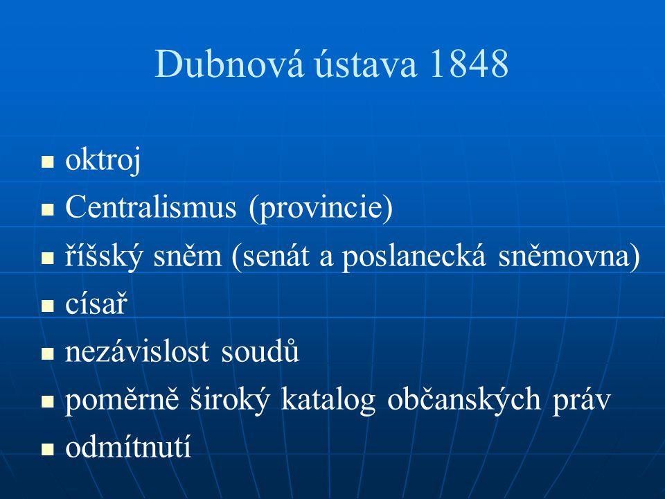 Dubnová ústava 1848 oktroj Centralismus (provincie)