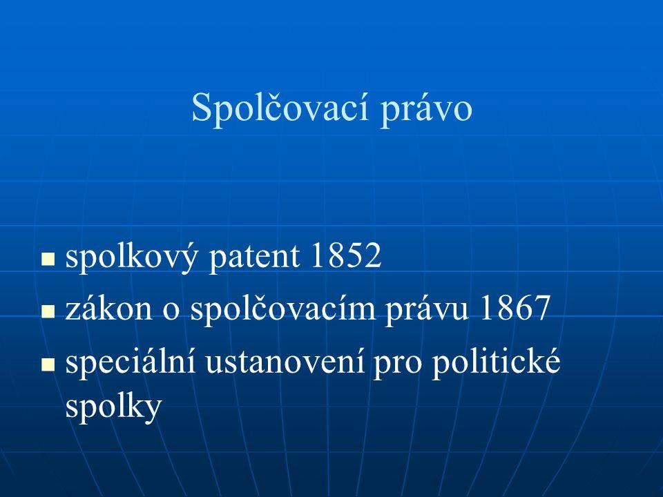 Spolčovací právo spolkový patent 1852 zákon o spolčovacím právu 1867