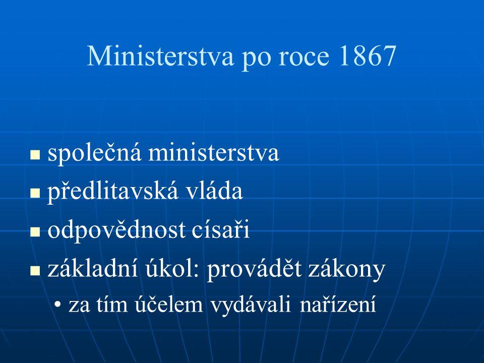 Ministerstva po roce 1867 společná ministerstva předlitavská vláda