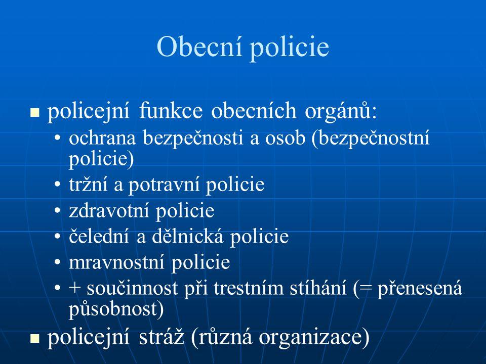 Obecní policie policejní funkce obecních orgánů: