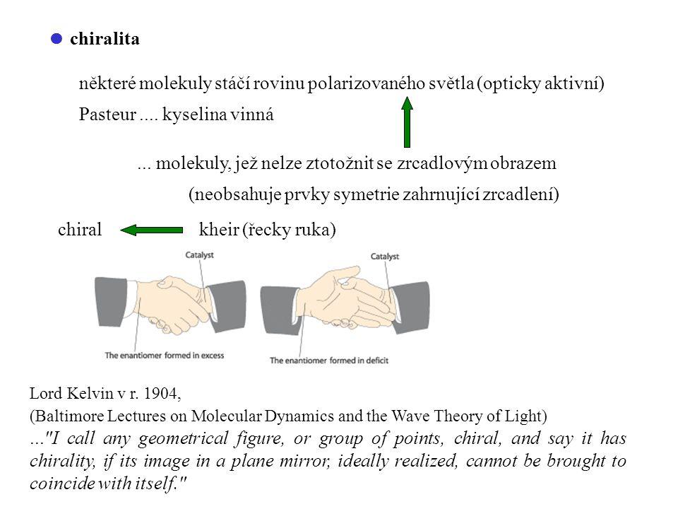 některé molekuly stáčí rovinu polarizovaného světla (opticky aktivní)
