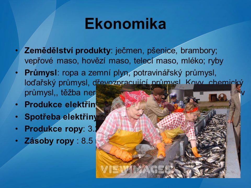 Ekonomika Zemědělství produkty: ječmen, pšenice, brambory; vepřové maso, hovězí maso, telecí maso, mléko; ryby.