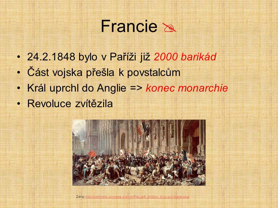 Francie  24.2.1848 bylo v Paříži již 2000 barikád