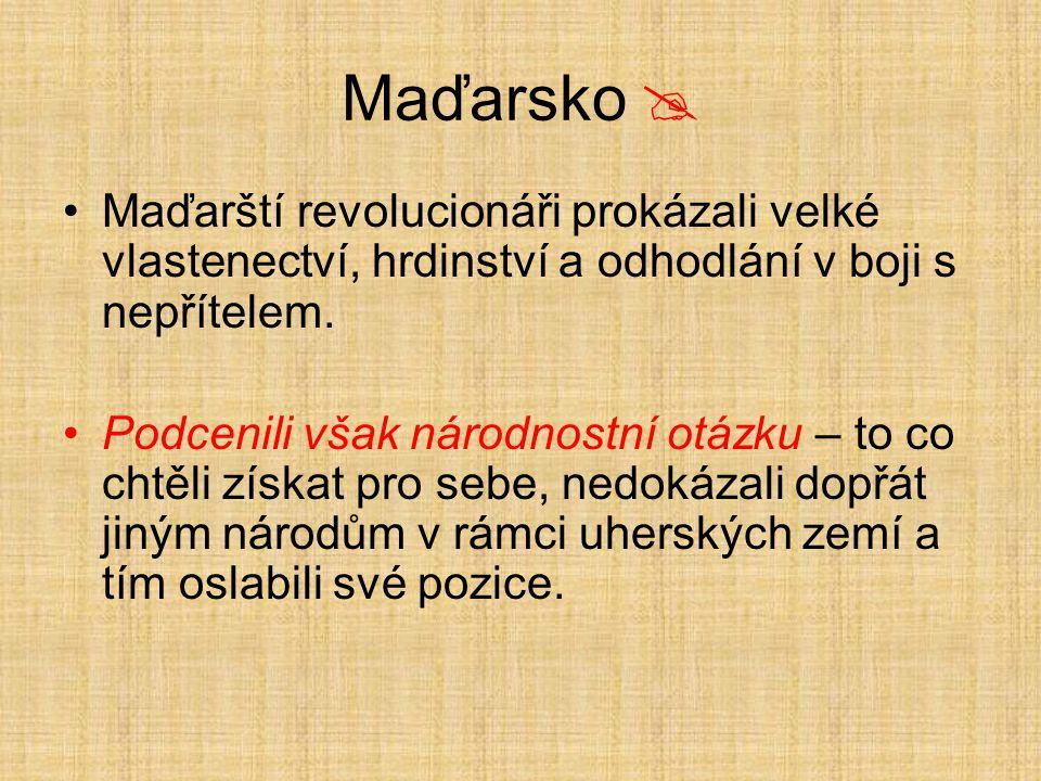 Maďarsko  Maďarští revolucionáři prokázali velké vlastenectví, hrdinství a odhodlání v boji s nepřítelem.