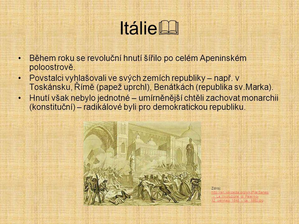 Itálie Během roku se revoluční hnutí šířilo po celém Apeninském poloostrově.
