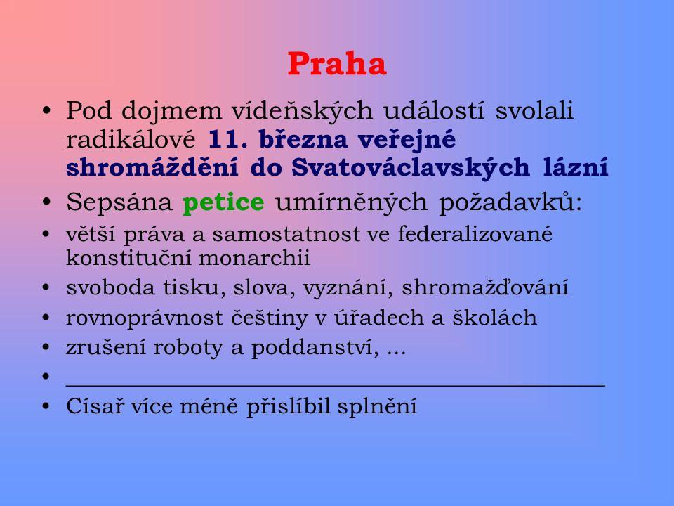 Praha Pod dojmem vídeňských událostí svolali radikálové 11. března veřejné shromáždění do Svatováclavských lázní.