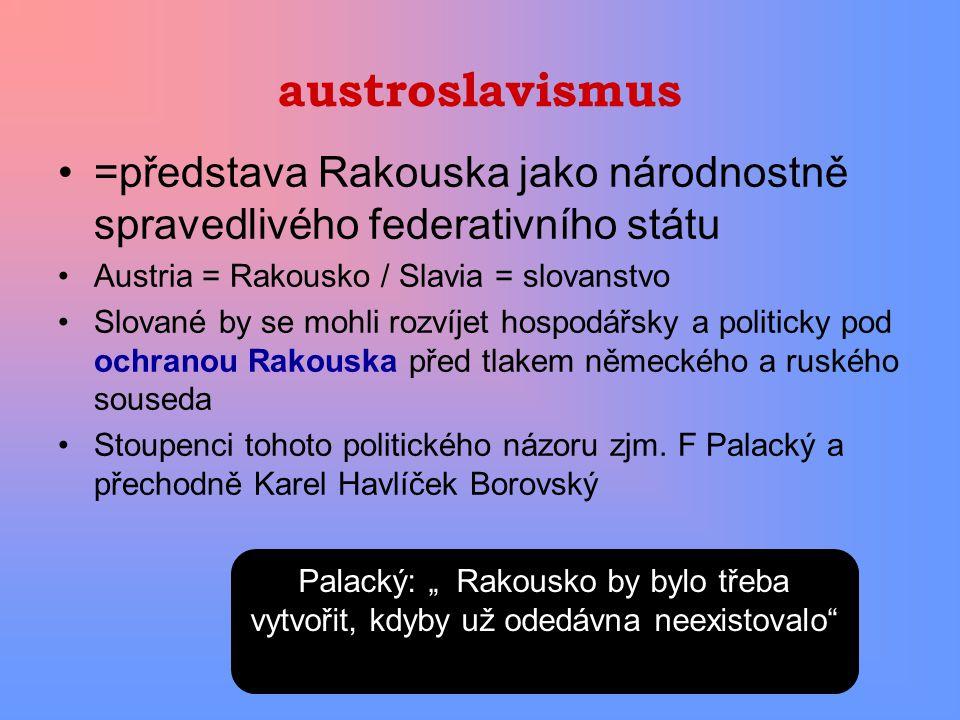 austroslavismus =představa Rakouska jako národnostně spravedlivého federativního státu. Austria = Rakousko / Slavia = slovanstvo.