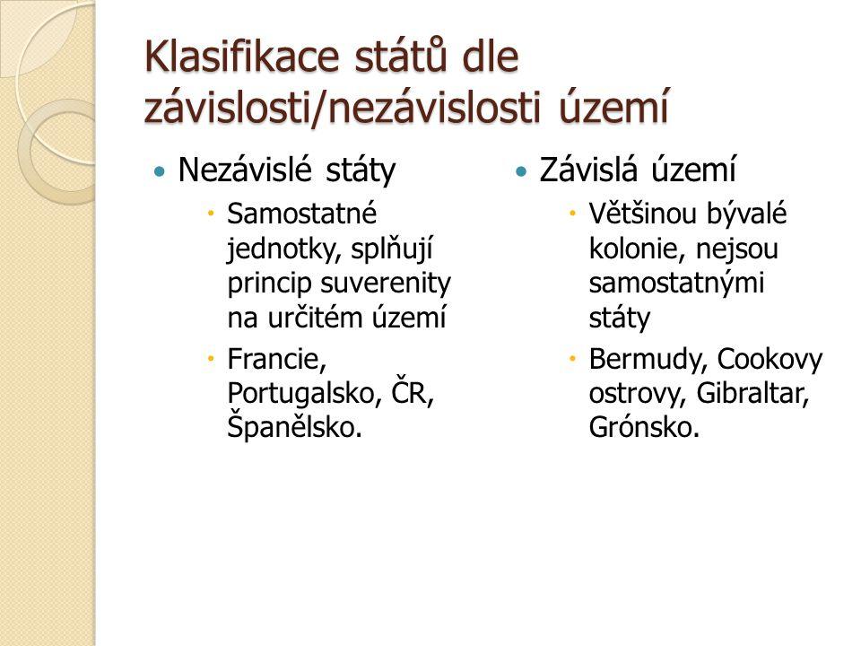 Klasifikace států dle závislosti/nezávislosti území