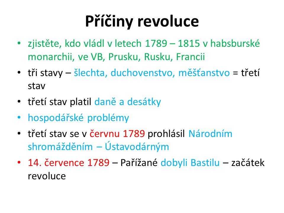 Příčiny revoluce zjistěte, kdo vládl v letech 1789 – 1815 v habsburské monarchii, ve VB, Prusku, Rusku, Francii.