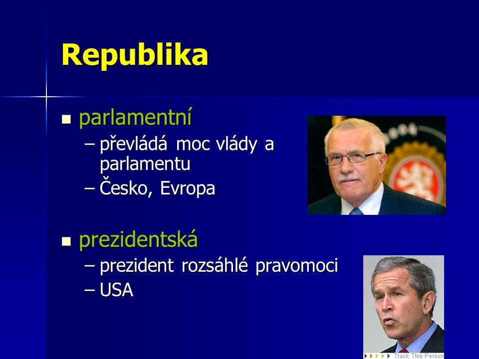 Republika parlamentní prezidentská převládá moc vlády a parlamentu