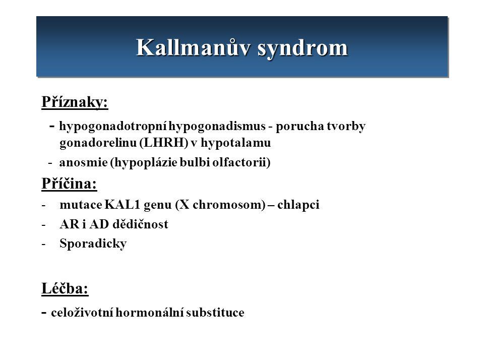 Kallmanův syndrom Příznaky: