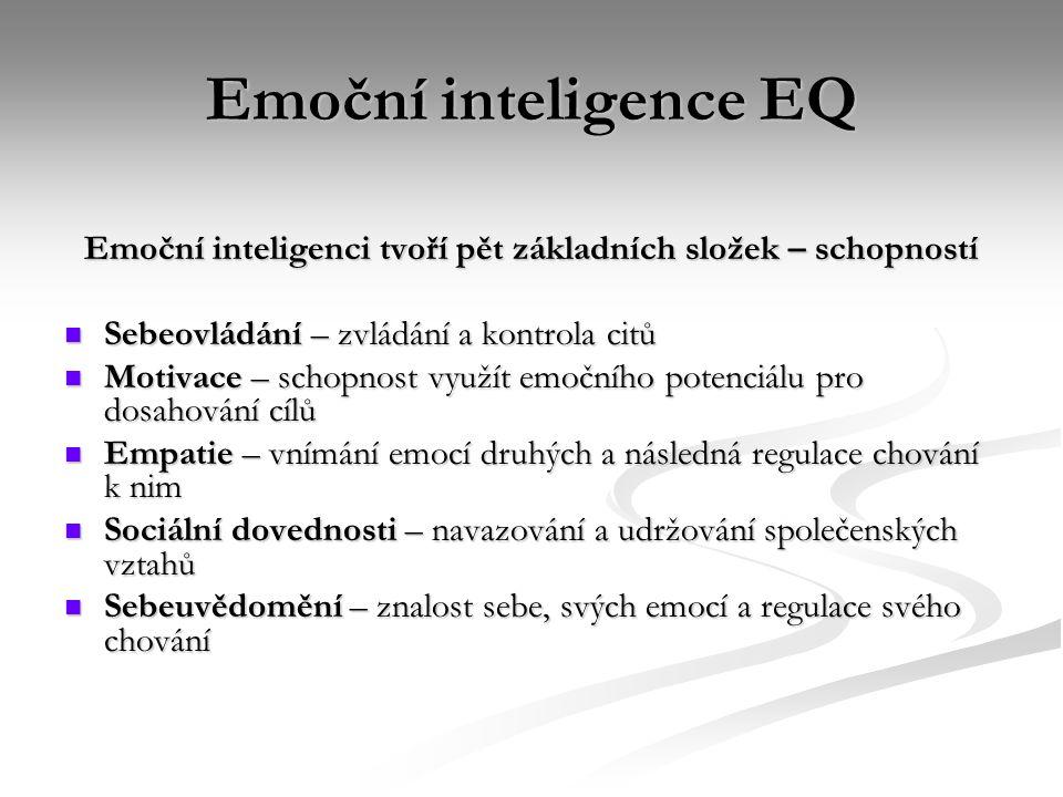 Emoční inteligenci tvoří pět základních složek – schopností