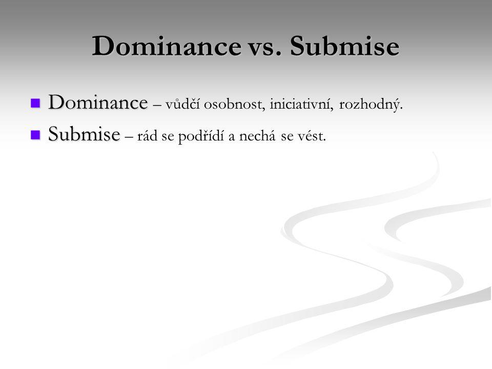 Dominance vs. Submise Dominance – vůdčí osobnost, iniciativní, rozhodný.