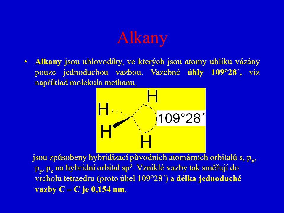 Alkany Alkany jsou uhlovodíky, ve kterých jsou atomy uhlíku vázány pouze jednoduchou vazbou. Vazebné úhly 109°28´, viz například molekula methanu,