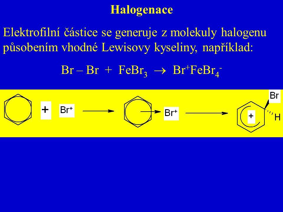 Halogenace Elektrofilní částice se generuje z molekuly halogenu působením vhodné Lewisovy kyseliny, například:
