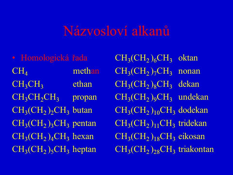 Názvosloví alkanů Homologická řada CH4 methan CH3CH3 ethan