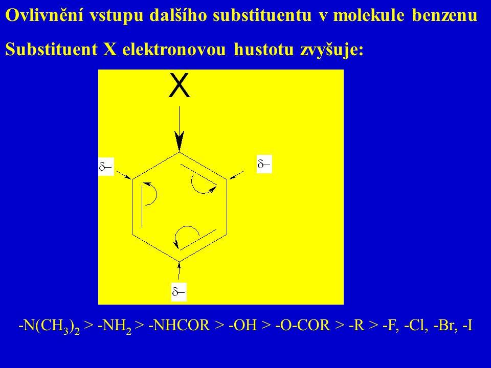 Ovlivnění vstupu dalšího substituentu v molekule benzenu