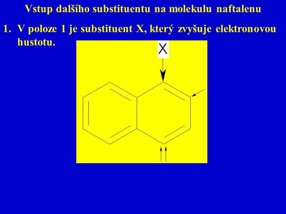 Vstup dalšího substituentu na molekulu naftalenu