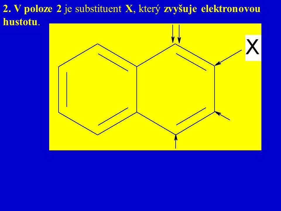 2. V poloze 2 je substituent X, který zvyšuje elektronovou hustotu.