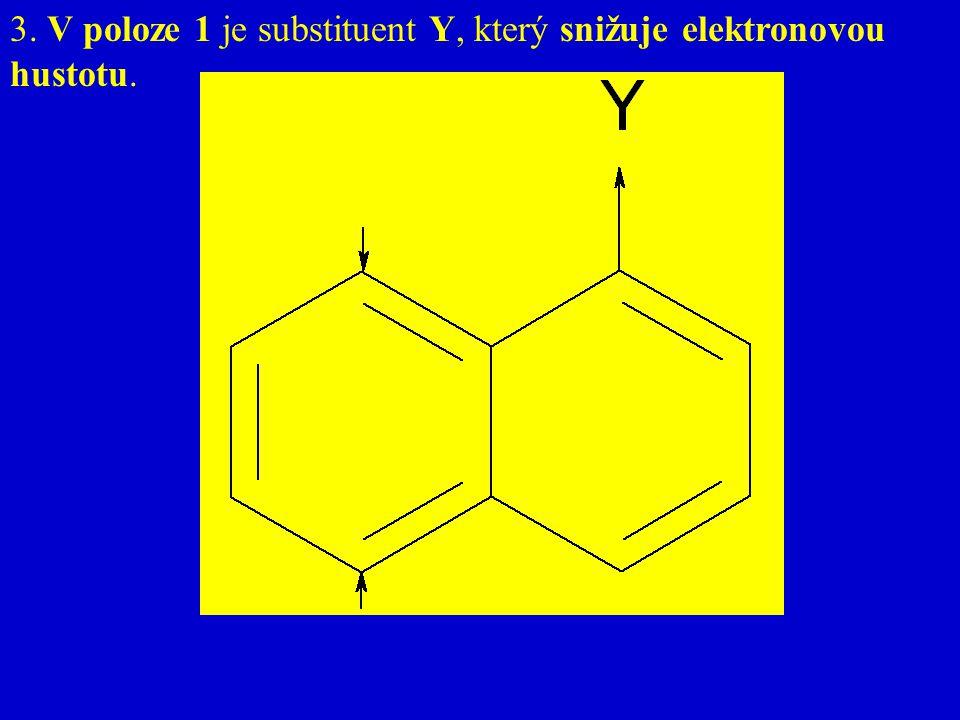 3. V poloze 1 je substituent Y, který snižuje elektronovou hustotu.