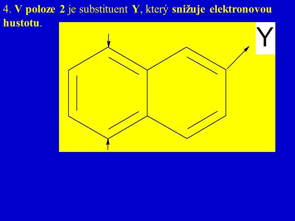 4. V poloze 2 je substituent Y, který snižuje elektronovou hustotu.