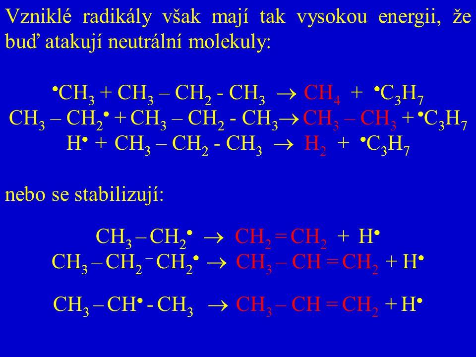 CH3 – CH2 + CH3 – CH2 - CH3 CH3 – CH3 + C3H7