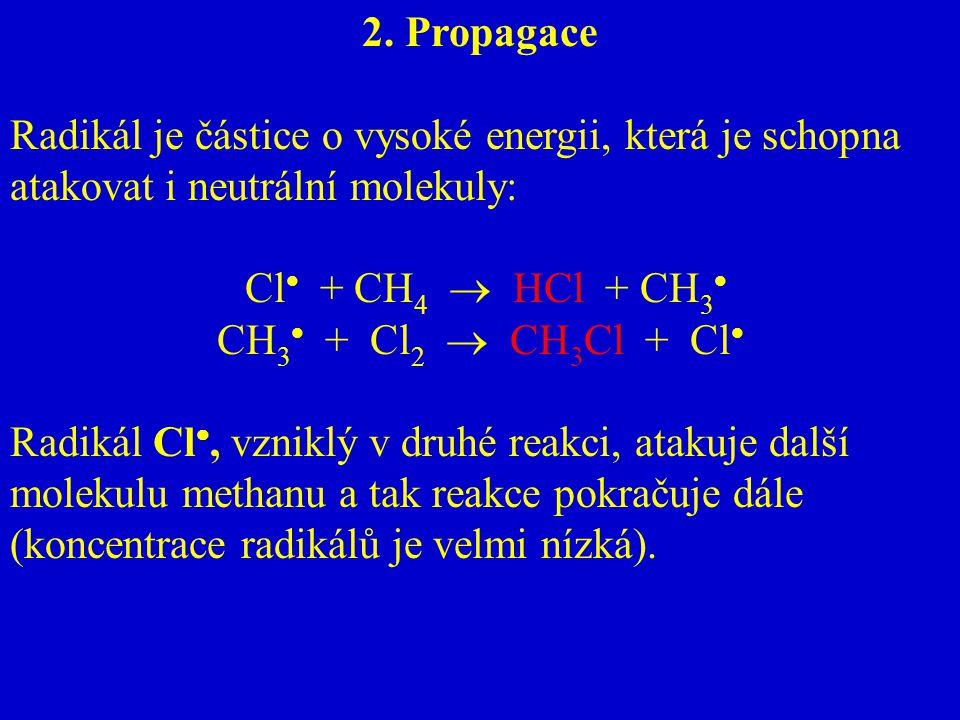 2. Propagace Radikál je částice o vysoké energii, která je schopna atakovat i neutrální molekuly: Cl + CH4  HCl + CH3