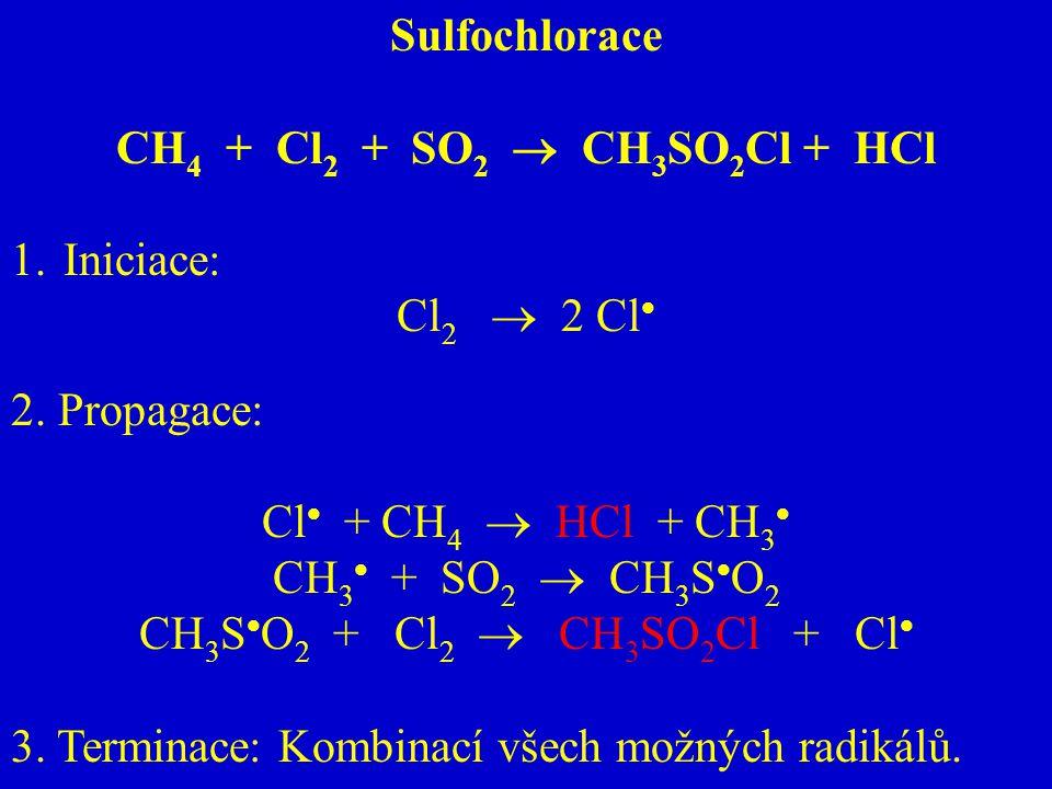 Sulfochlorace CH4 + Cl2 + SO2  CH3SO2Cl + HCl. Iniciace: Cl2  2 Cl 2. Propagace: Cl + CH4  HCl + CH3