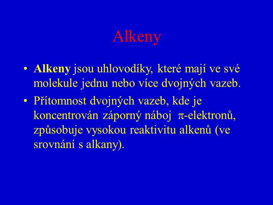 Alkeny Alkeny jsou uhlovodíky, které mají ve své molekule jednu nebo více dvojných vazeb.