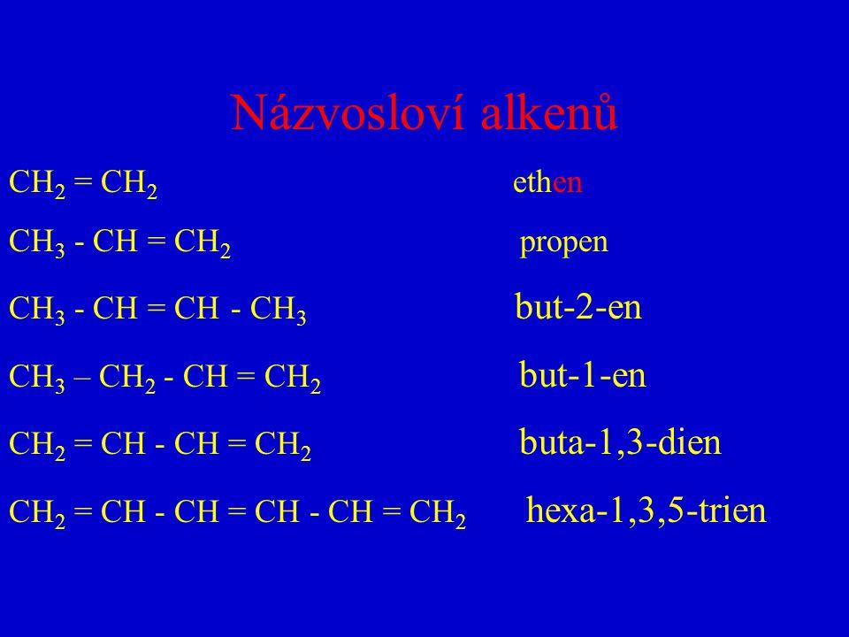 Názvosloví alkenů CH2 = CH2 ethen CH3 - CH = CH2 propen