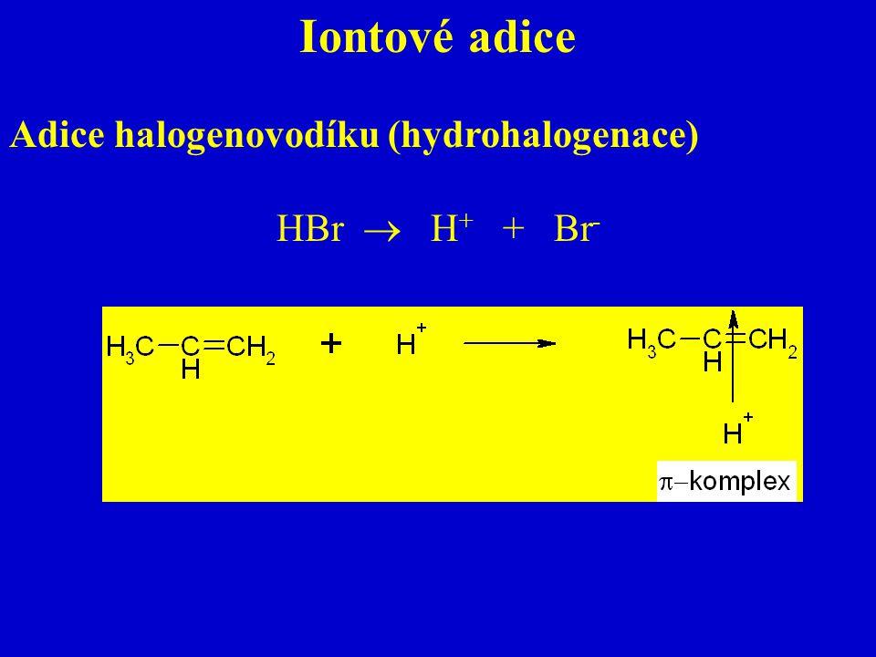 Iontové adice Adice halogenovodíku (hydrohalogenace) HBr  H+ + Br-