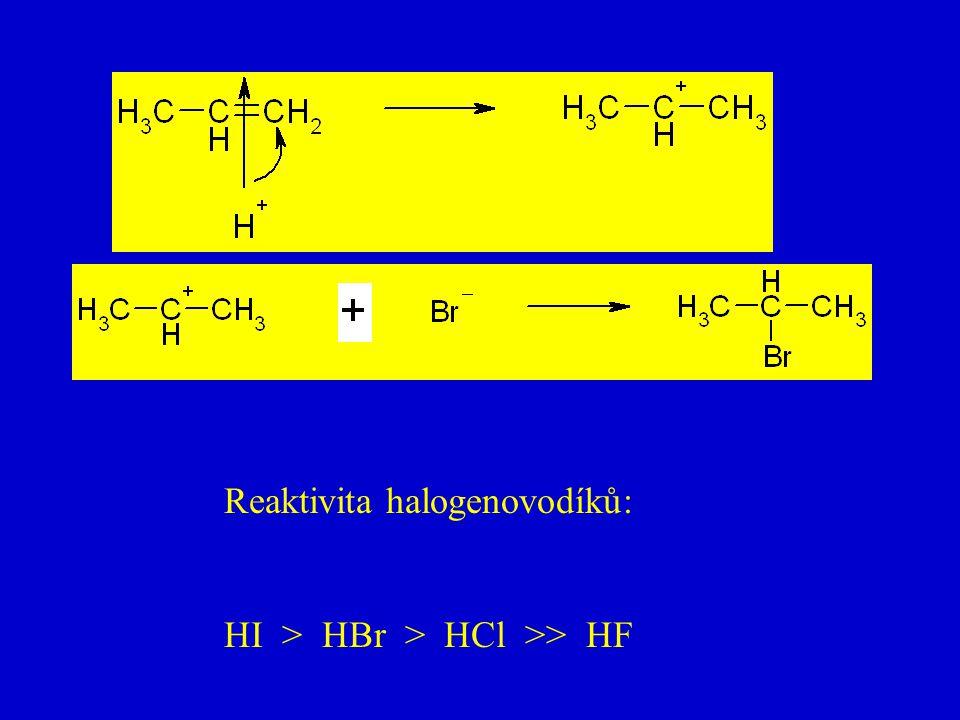 Reaktivita halogenovodíků: