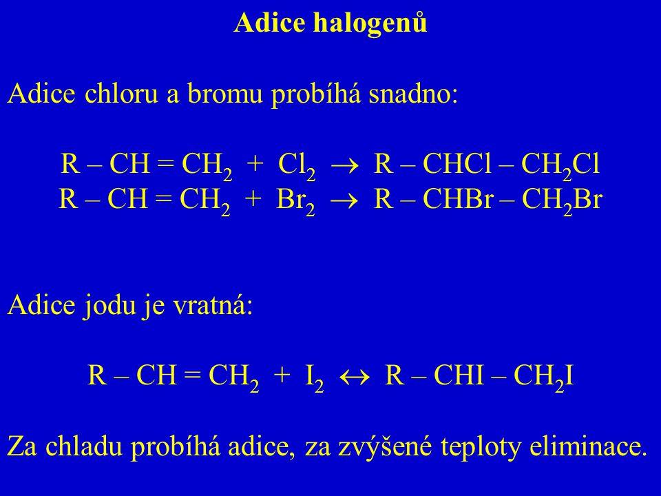 Adice chloru a bromu probíhá snadno: