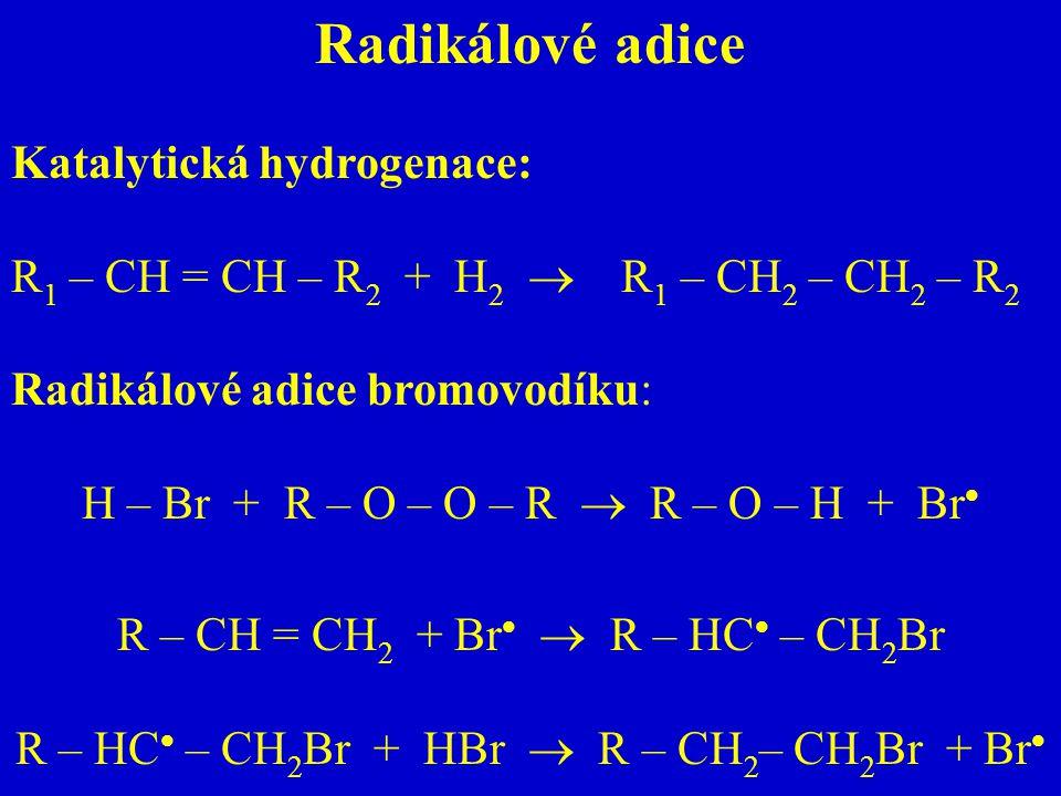 Radikálové adice Katalytická hydrogenace: