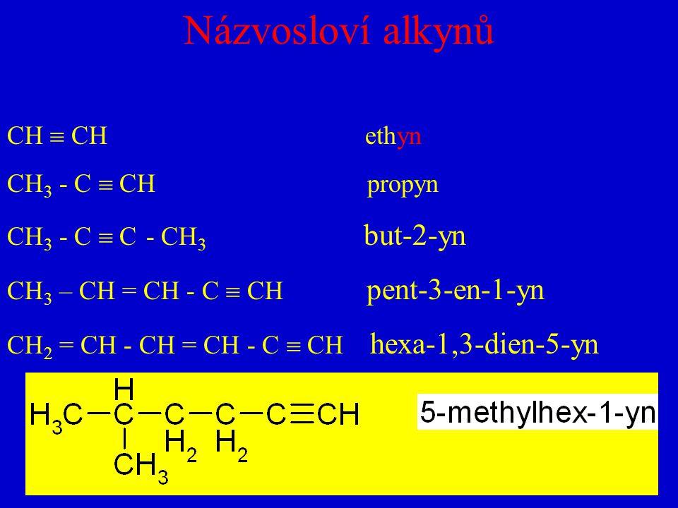 Názvosloví alkynů CH  CH ethyn CH3 - C  CH propyn