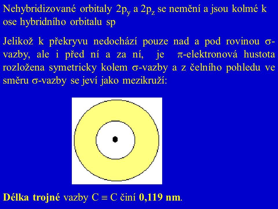Nehybridizované orbitaly 2py a 2pz se nemění a jsou kolmé k ose hybridního orbitalu sp