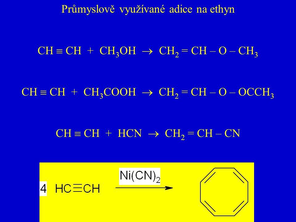 Průmyslově využívané adice na ethyn