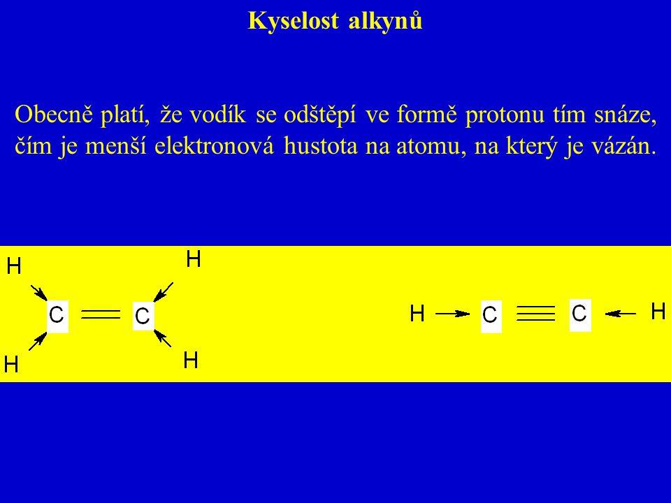 Kyselost alkynů Obecně platí, že vodík se odštěpí ve formě protonu tím snáze, čím je menší elektronová hustota na atomu, na který je vázán.