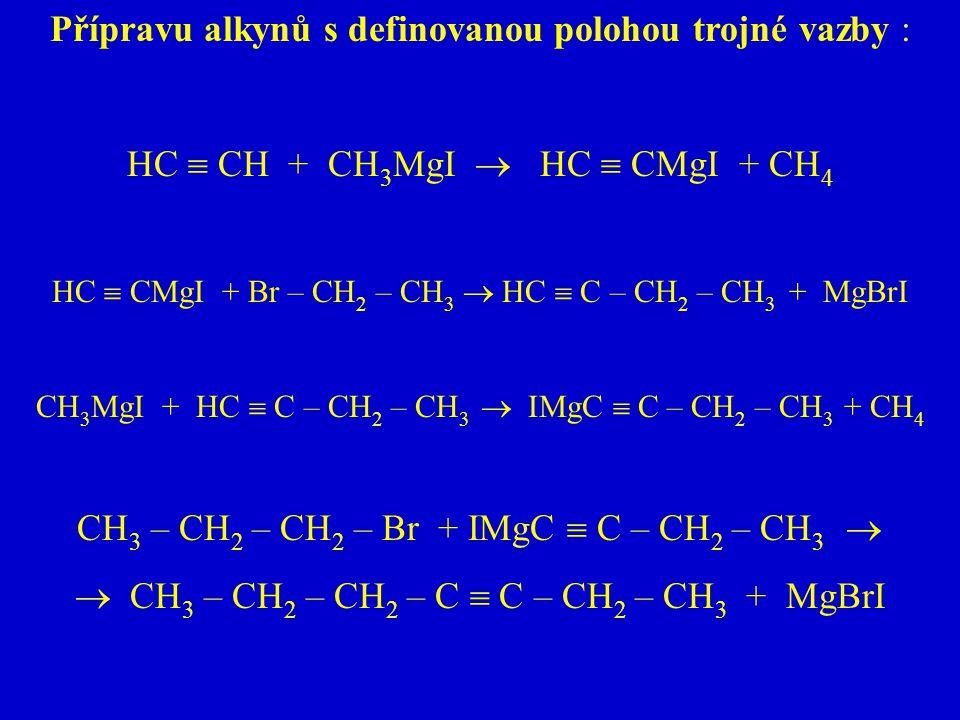 Přípravu alkynů s definovanou polohou trojné vazby :