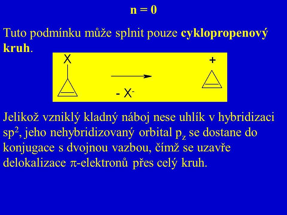 n = 0 Tuto podmínku může splnit pouze cyklopropenový kruh.