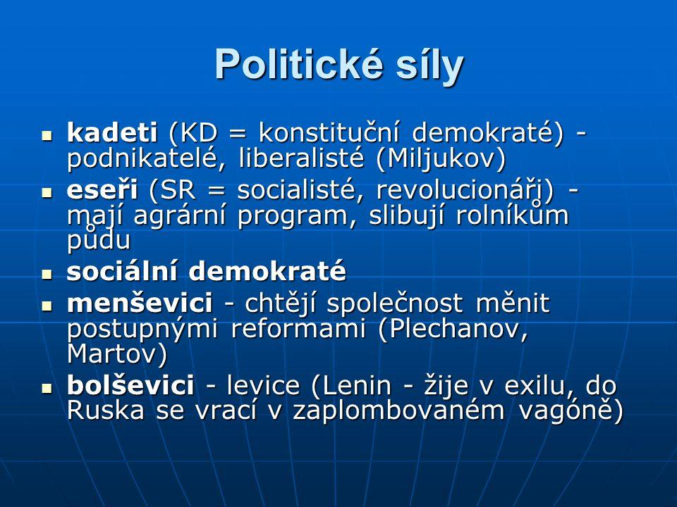 Politické síly kadeti (KD = konstituční demokraté) - podnikatelé, liberalisté (Miljukov)